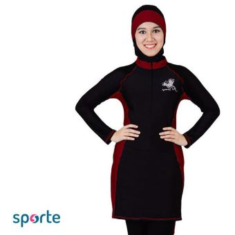 SPORTE Baju Renang Muslim Slimfit SP 03 Hitam Maroon