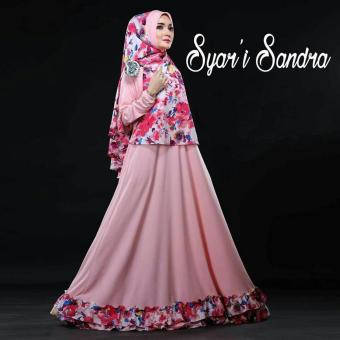 SR Collection Set Gamis Muslim Wanita 2 in 1 Busui Sandraniah Syari - Pink Baby