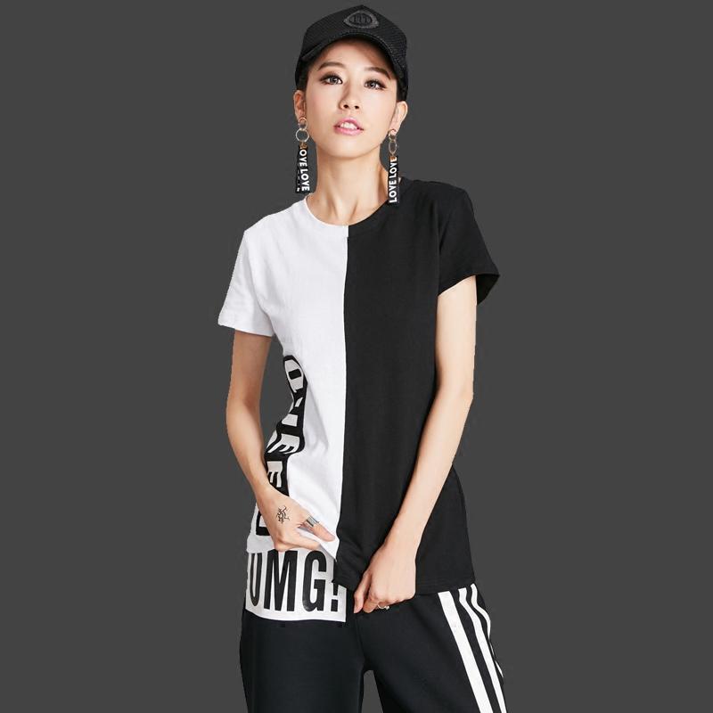 Stasiun Eropa jahitan hitam dan putih lengan pendek leher bulat t-shirt kepribadian baru perempuan