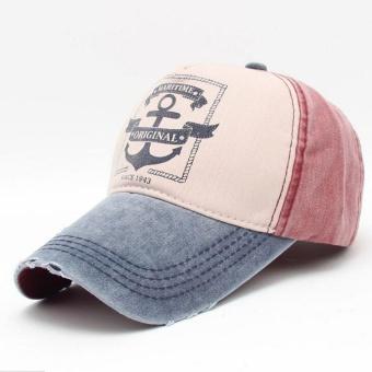 Musim Panas Kasual Kolam Bisbol Cap Jangkar Kapal Anggur Red Navy Blue Topi  Merah-Intl eb9924e241