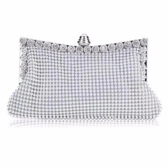 Sunweb kopling wanita santai tas tangan wanita Tas Pesta Malam kristal (Perak)