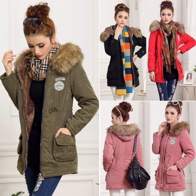 SuperCart Wanita Mantel Musim Dingin Yang Hangat MengentalkanTudung Mantel Jaket Panjang Lebih Tahan .