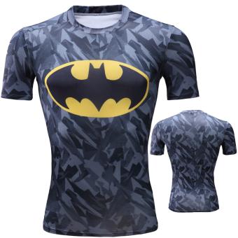 Jual Superman tinggi elastis cepat kering lengan pendek pria t-shirt  legging pakaian (Batman kamuflase) Online 4f329af5dc