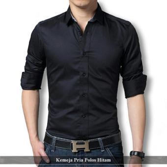 Supplier Kemeja Pria - Kemeja Pria Murah - Kemeja Polos Hitam Blacky fa780458c0