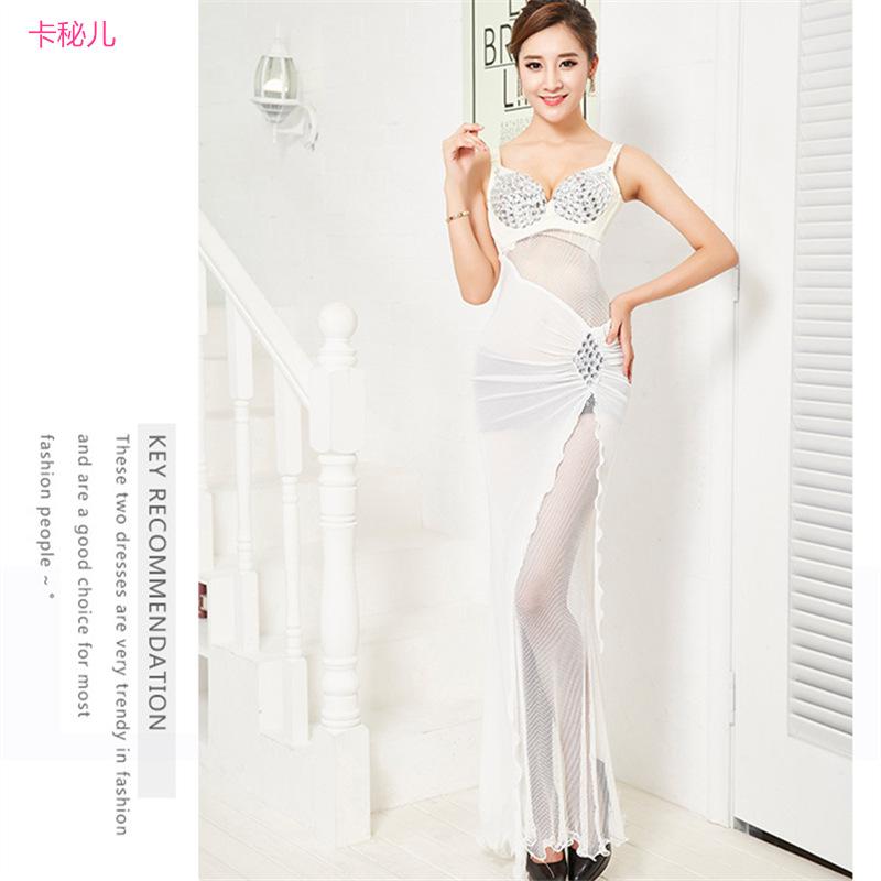 Suspender Seksi Strapless Pesta Gaun Gaun Malam (Putih)