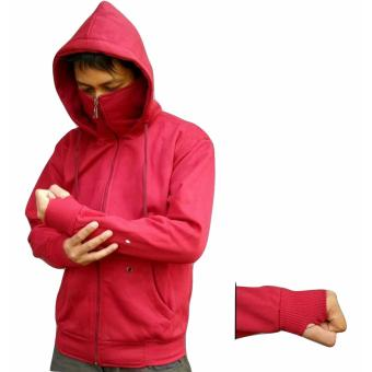 Sweater Hodie - Sweater Polos NInja Finger - Premium Quality - Fleece Tebal - Maroon