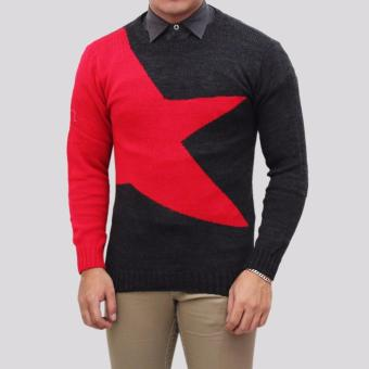 Sweater Pria Rajut - Big Star Red - Rajut Tribal
