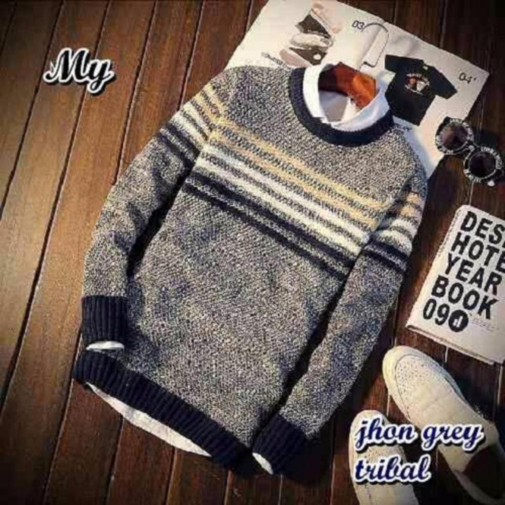 Sweater Pria Rajut Azuma Grey Tribal Daftar Update Harga Navy 2981122 Source Jhon Cream Tebal