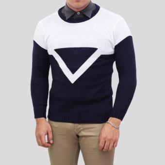Sweater Pria Rajut - Triangel Navy Sweater - Rajut Tribal