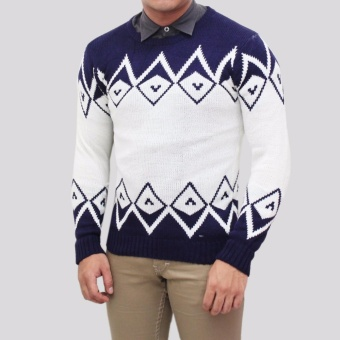 Sweater Pria Rajut - Zeru Navy Tribal - Rajut tribal