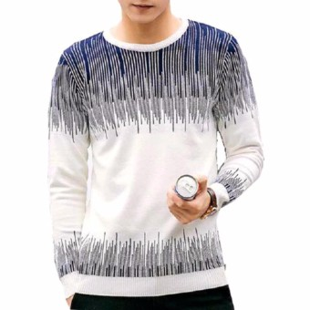 Sweater Pria Rajut - Zia White Tribal - Rajut Tribal