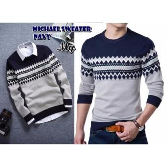 sweater rajut MICHAEL NAVY rajut tribal