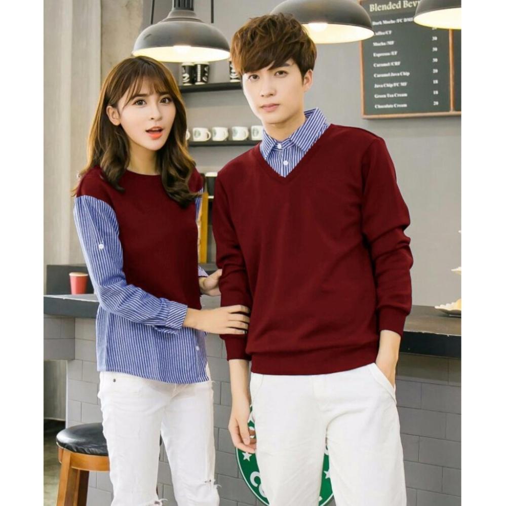 Flash Sale Sweetenyou Baju Kemeja Lengan Panjang Couple Hokky - Maroon