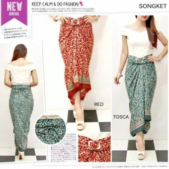 T-OS Skirt Rok Lilit Songket Batik Design - HD1016 [Tosca]