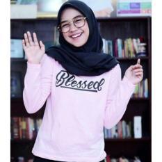 T-shirt / Tmblr Tee / Kaos Wanita Blessed Tangan Panjang Pink