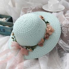 Tabir surya pantai Baobao topi anak topi jerami (Semua Kode + Karangan bunga jerami topi