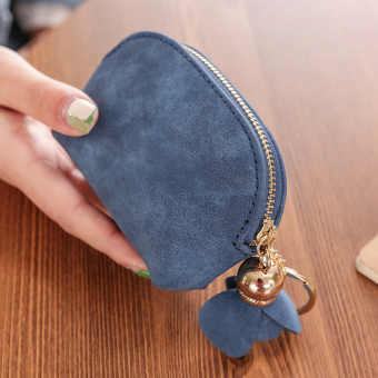 Tango lucu tas Jepang dan Korea Fashion Style Mini dompet kartu dompet kecil (Biru tua