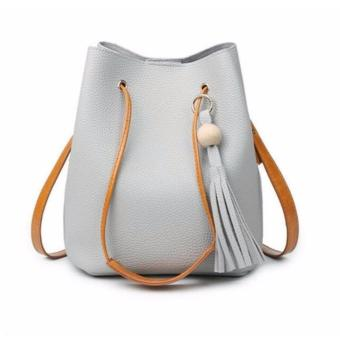 Tas 2in1 DRAWSTRING Women Fashion Bag Tassel Bucket Leather Korean Tasel Handbags Shoulder Bags - ABU