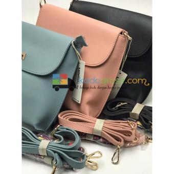 Tas (2in1) Selempang + Shoulder Wanita / Simple Style Crossbody Bag Miniso Pink