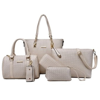 Tas Branded Wanita 6IN1 - High Quality PU Leather Korean Elegant Bag Style - Beige