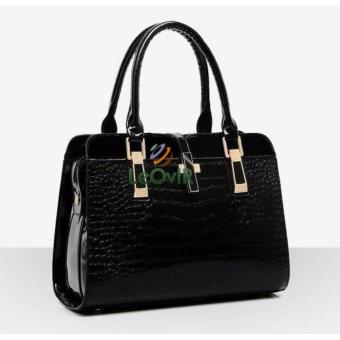 Tas Branded Wanita - Top-Handle Bags - PU Leather - Black - 03560