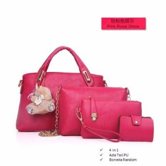 Tas Branded Wanita - Top-Handle Bags - PU Leather - Rose - 34053(4IN1)