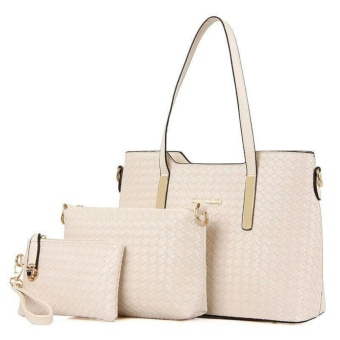 Tas Branded Wanita - Top-Handle Bags - Wristlets - Bag Charms & Accessories - PU Leather - Beige - 87800(3IN1)