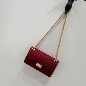 Tas Fashion Remaja dan Dewasa JELLY MATTE chevron 22cm (RED MAROON) HIGH  QUALITY 8e30d73d5c