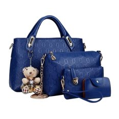 Tas Fashion Wanita - High Quality Korean Style 4in1 - Biru