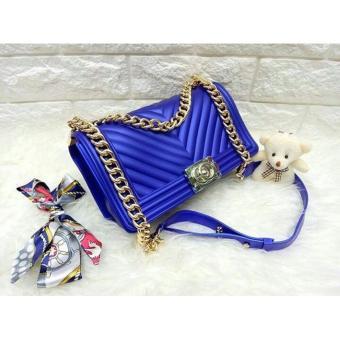 Cek Harga Baru Tas Fashion Wanita Jelly Matte Chevron Boy Blue ... 1c4280ee65
