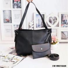 Tas Fashion wanita Tote Bag 2 in 1 Multi - Black