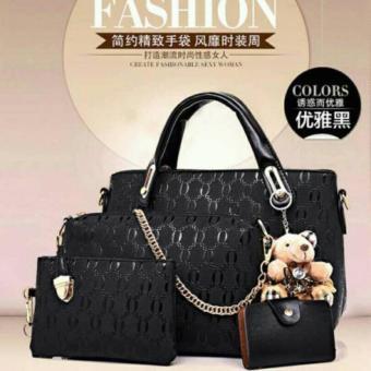 Tas Korean Hand Bag Style High Quality 4in1 Black