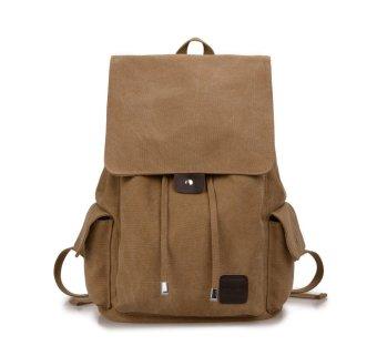 Tas Ransel Kanvas Impor Backpack Canvas Import Laptop Pria Wanita - Khaki d563eac715