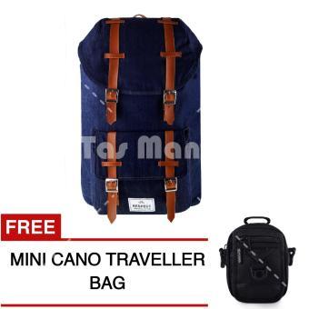 Tas Ransel Respect Mountain Denim Tas Laptop Backpack - Biru Jeans + FREE Tas Selempang Mini