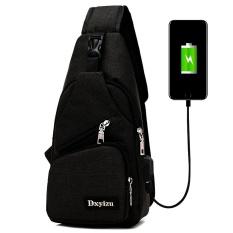 Tas Selempang dengan USB Charger Port - Black