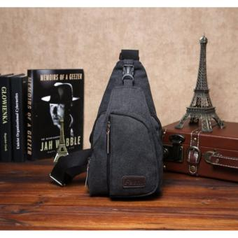 Tas Selempang Travel Unisex Tahan Air Bahan Canvas - Hitam