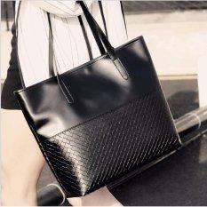 Tas Wanita Fashion Tote Bag PU Leather Elegan - Hitam