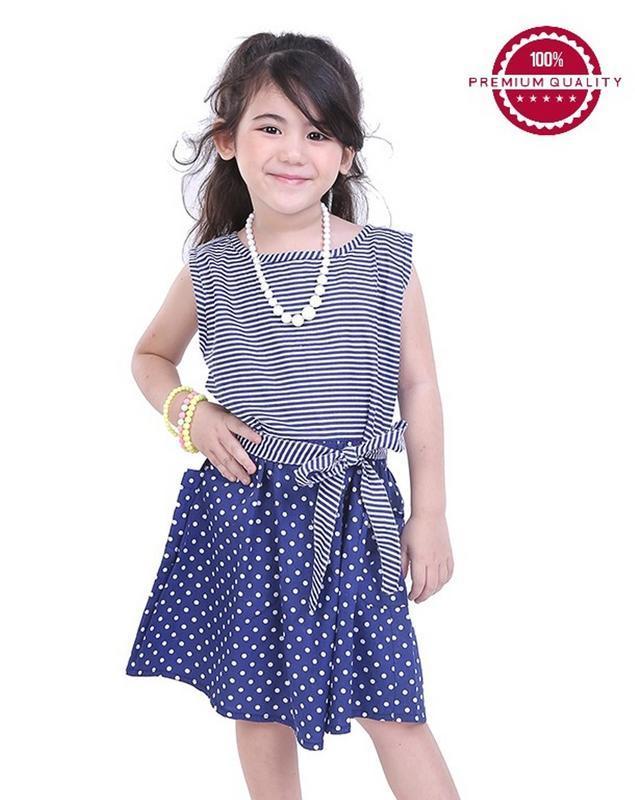 TDLR - Dress Anak Perempuan Biru Kombinasi - THS 3050