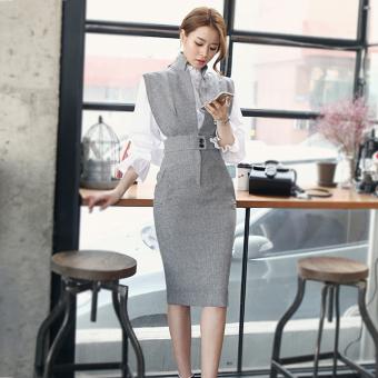 Pencari Harga Temperamen Slim adalah rompi tipis, rok dan bagian yang panjang elegan gaun (