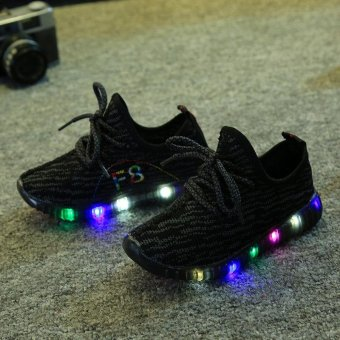 TF The new style children's net cloth breathable LED shoes Casual soft sole shoes(Black) - intl