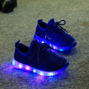 TF The new style children's net cloth breathable LED shoes Casual soft sole shoes(Blue) - intl