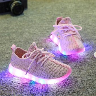 TF The new style children's net cloth breathable LED shoes Casual soft sole shoes(Pink) - intl