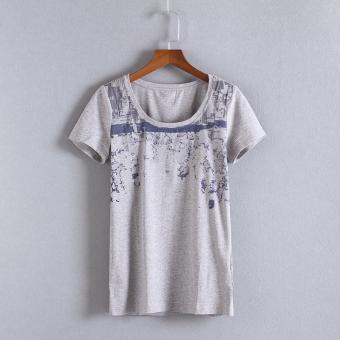 Thanksgiving Korea musim panas Slim t-shirt, Ms. (Abu-abu terang