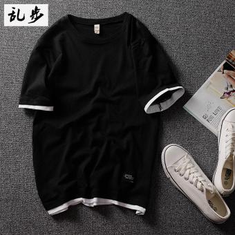 Gambar Tide merek katun Jepang laki laki remaja TEE t shirt (DT521 palsu dua pendek