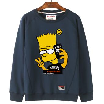 Terbaik Murah Tide merek Korea pria musim gugur lengan panjang jaket bisbol seragam lindung nilai sweater (Biru tua leher bulat sweater) Hot Deals