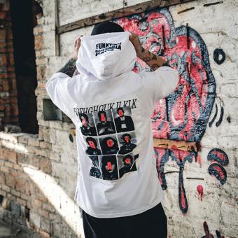 Tide merek laki-laki berkerudung lengan pendek pria t-shirt hip-hop hip