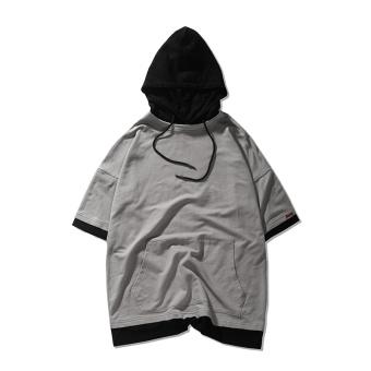 Tide merek laki-laki berkerudung lengan pendek t-shirt olahraga sweater (Abu -