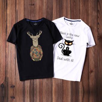 Gambar Tide merek musim panas pria lengan pendek t shirt (Hitam mr. rusa retro