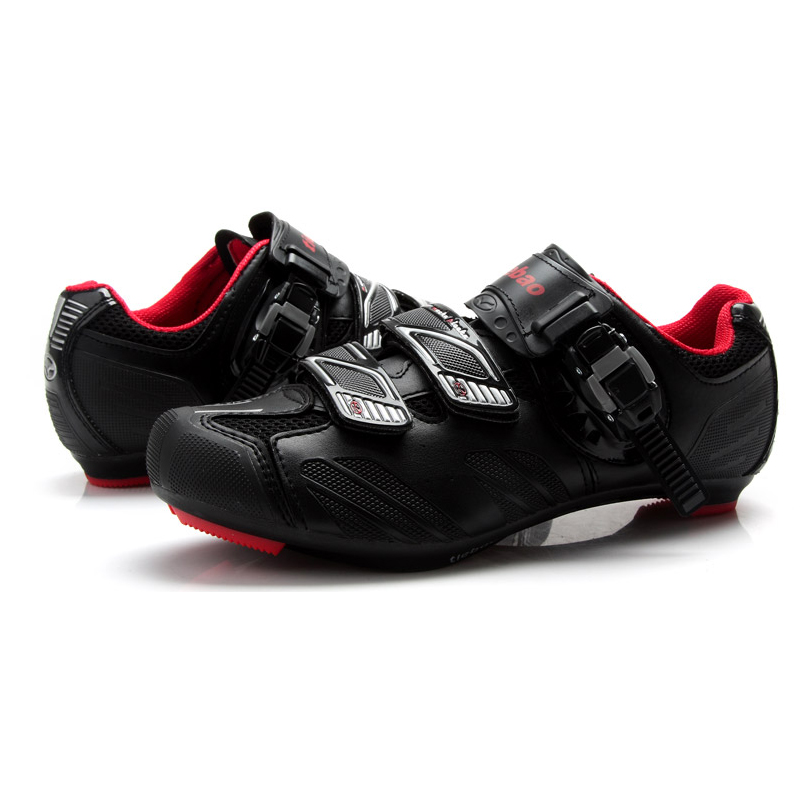 Black Red Tiebao TB36-B1407 Cycling Shoes Road Bike Bicycle Shoes For Look SPD-