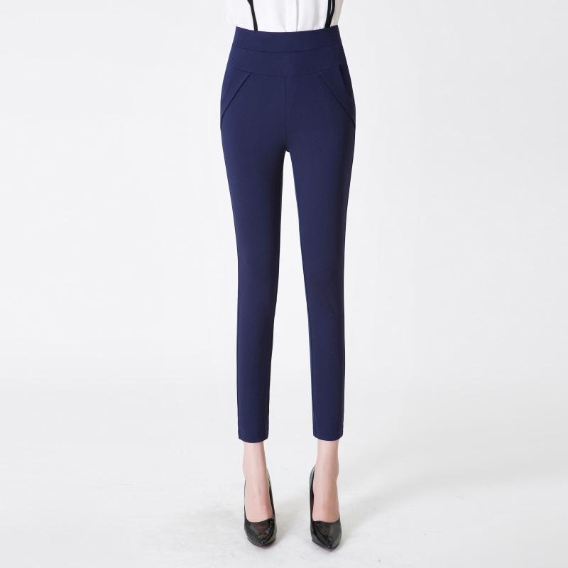 Tinggi elastis musim gugur baru legging pakaian luar celana pinggang tinggi celana kaki (Biru)